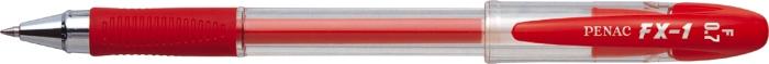 Pix Cu Gel Penac Fx-1  Rubber Grip  0.7mm  Con Metalic  Corp Transparent - Scriere Rosie
