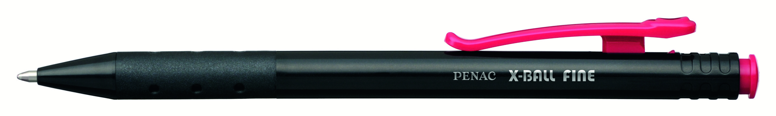 Pix Penac X Ball  Cu Mecanism  Rubber Grip  0.7mm  Corp Negru Cu Clema Colorata - Scriere Rosie
