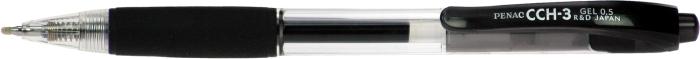 Pix Penac Cch-3  Cu Mecanism  Rubber Grip  0.7mm  Corp Transparent - Scriere Neagra