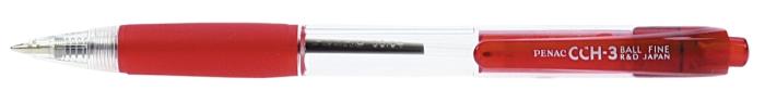 Pix Penac Cch-3  Cu Mecanism  Rubber Grip  0.7mm  Corp Transparent - Scriere Rosie