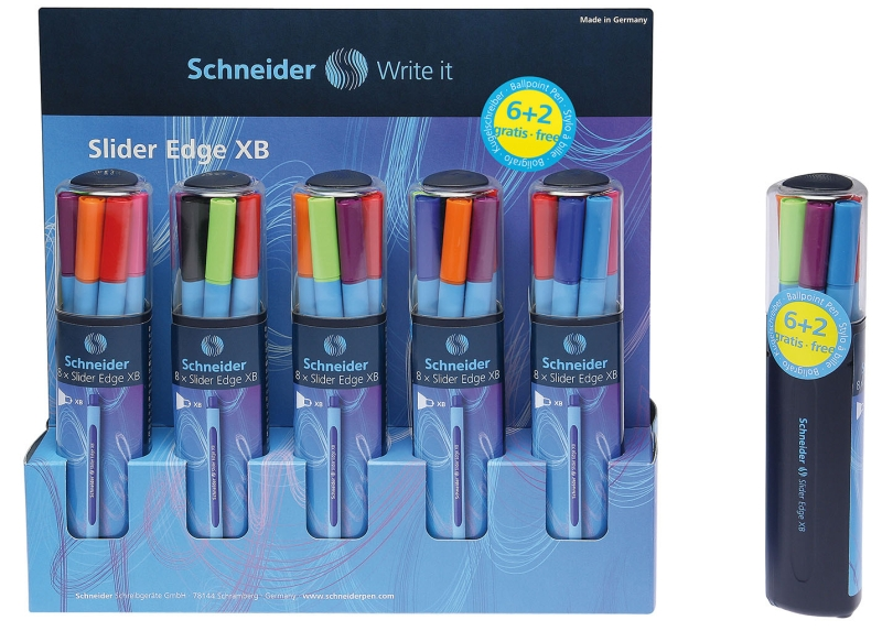 Pix Schneider Slider Edge Xb  Rubber Grip  Varf 1.4mm  8 Culori/set - (n r a v o v roz b)