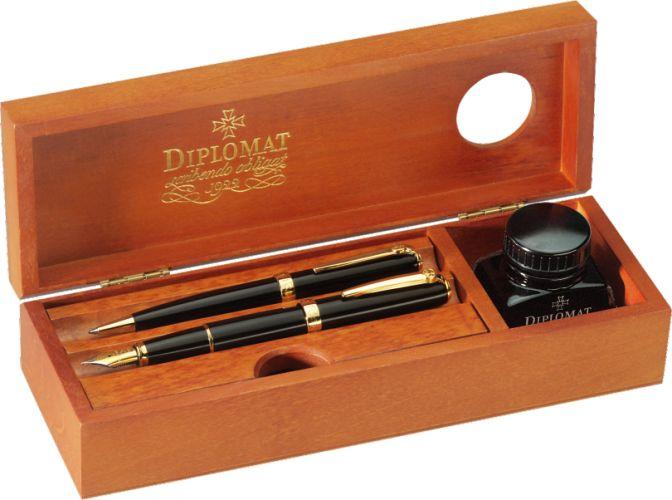 Cutie Din Lemn Pentru Instrumente De Scris  Calimara Inclusa  Diplomat - Cherry Wood