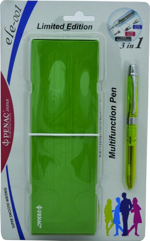 Pix Multifunctional Cu Doua Culori / Creion Mecanic 0.5mm  Penac Ele 001 + Penar Cadou  Verde