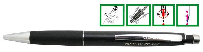 Creion Mecanic De Lux Penac Np Trifit 500  0.5mm  Varf Si Accesorii Metalice - Corp Negru