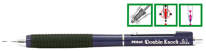 Creion Mecanic De Lux Penac Double Knock  0.5mm  Varf Si Con Metalic Retractabil - Corp Bleumarin