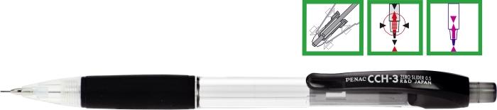 Creion Mecanic Penac Cch-3  Rubber Grip  0.7mm  Varf Metalic  Corp Transparent - Accesorii Negre