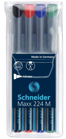 Universal Permanent Marker Schneider Maxx 224 M  Varf 1mm  4 Culori/set - (n  R  A  V)