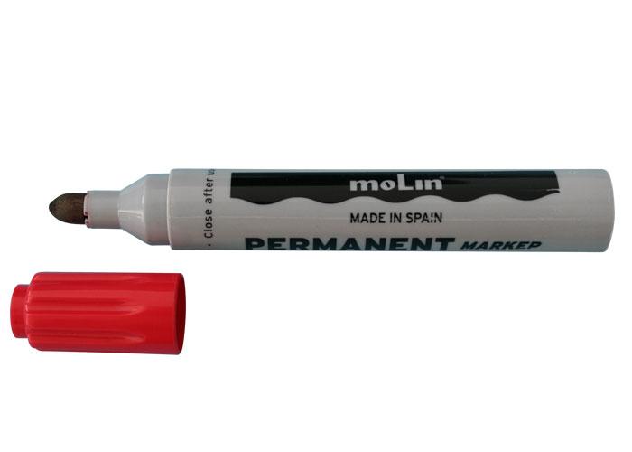 Permanent Marker  Varf Rotund  Corp Plastic  Molin - Rosu