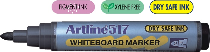 Marker Pentru Tabla De Scris Artline 517 - Dry Safe Ink  Varf Rotund 2.0mm - Negru