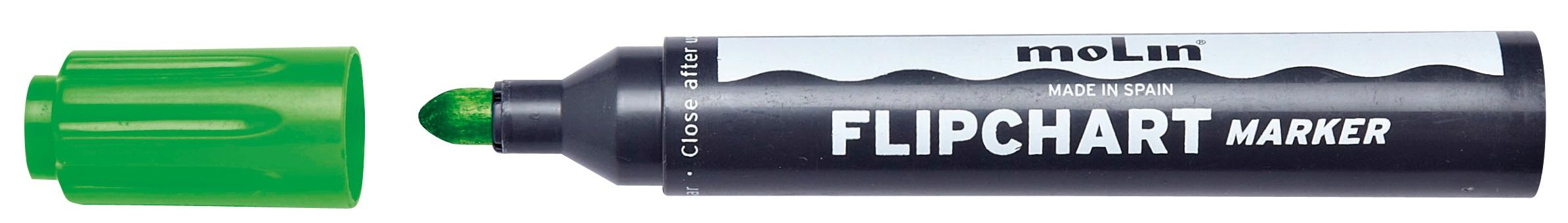 Flipchart Marker Varf Rotund  Corp Plastic  Molin - Verde