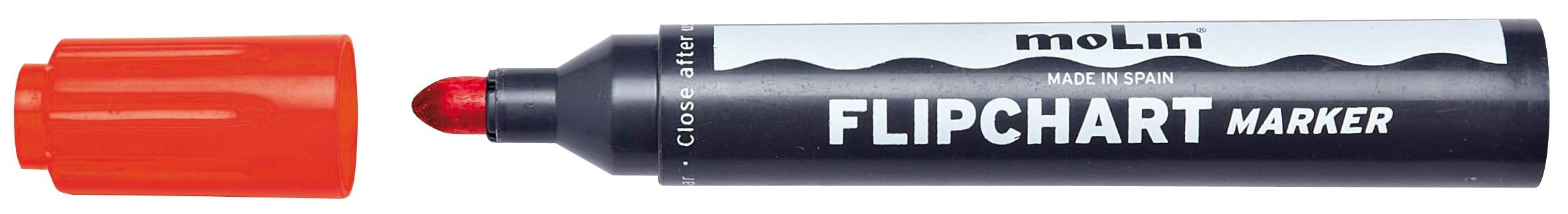 Flipchart Marker Varf Rotund  Corp Plastic  Molin - Rosu
