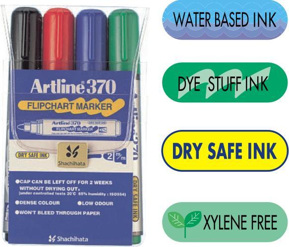 Flipchart Marker Artline 370 - Dry Safe Ink  Corp Plastic  Varf Rotund 2.0mm  4 Culori/set