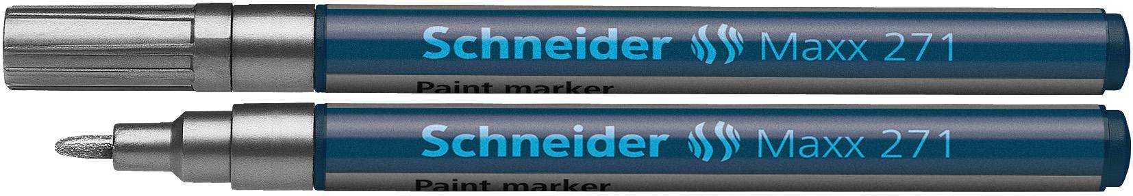 Marker Cu Vopsea Schneider Maxx 271  Varf Rotund 1-2mm - Argintiu