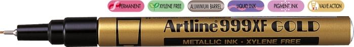 Marker Cu Vopsea Artline 999xf  Corp Metalic  Varf Rotund 0.8mm - Auriu