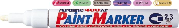 Marker Cu Vopsea Artline 400xf  Corp Metalic  Varf Rotund 2.3mm - Alb