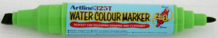 Watercolor Marker Artline 325t  Doua Capete - Varf Rotund 2.0mm/tesit 5.0mm - Vernil