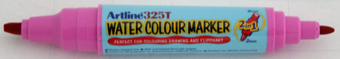 Watercolor Marker Artline 325t  Doua Capete - Varf Rotund 2.0mm/tesit 5.0mm - Roz