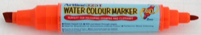 Watercolor Marker Artline 325t  Doua Capete - Varf Rotund 2.0mm/tesit 5.0mm - Portocaliu
