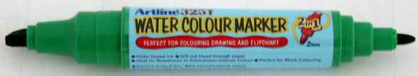 Watercolor Marker Artline 325t  Doua Capete - Varf Rotund 2.0mm/tesit 5.0mm - Verde