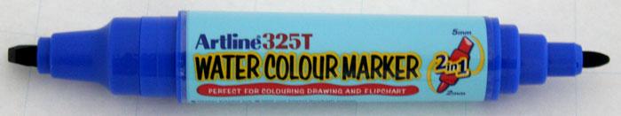 Watercolor Marker Artline 325t  Doua Capete - Varf Rotund 2.0mm/tesit 5.0mm - Albastru
