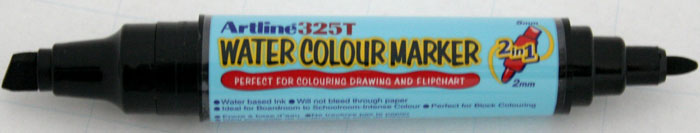 Watercolor Marker Artline 325t  Doua Capete - Varf Rotund 2.0mm/tesit 5.0mm - Negru