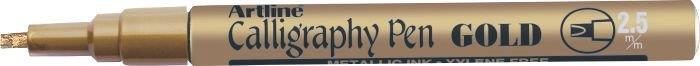 Marker Artline Calligraphy  Corp Metalic  Varf Tesit Din Fetru 2.5mm - Auriu