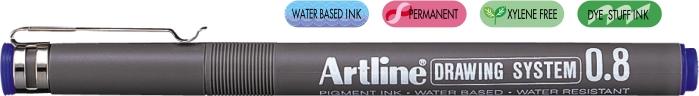 Marker Pentru Desen Tehnic Artline  Varf Fetru 0.8mm - Albastru