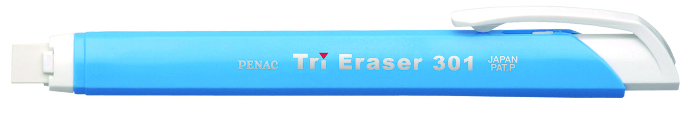 Radiera Mecanica Penac Tri Eraser  Triunghiulara  100% Cauciuc - Corp Albastru Pastel