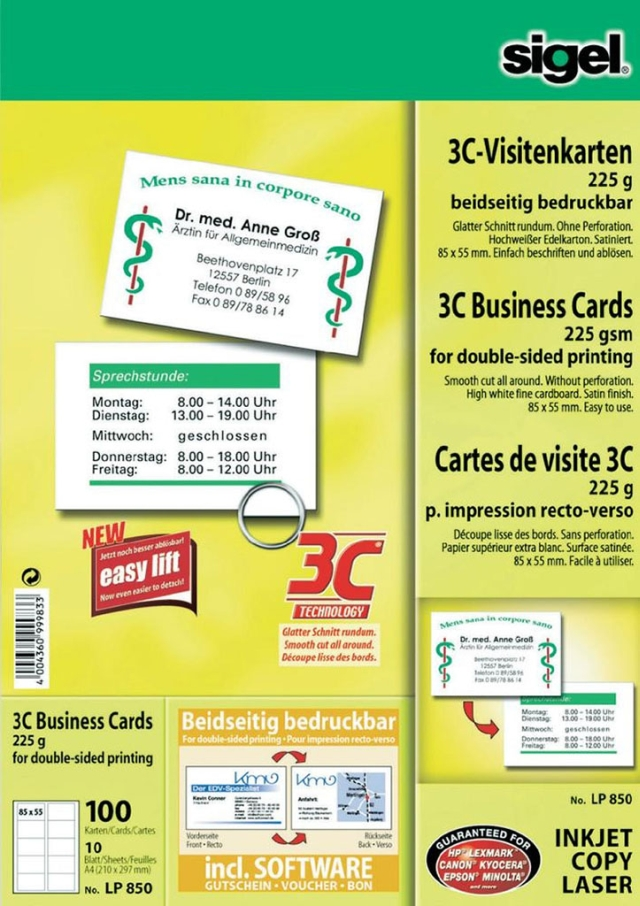 Carton Carti Vizita 55 X 85 Mm  Tehnologie 3c  Ink Jet Lucios  225g/mp  10 Coli A4/set  Sigel