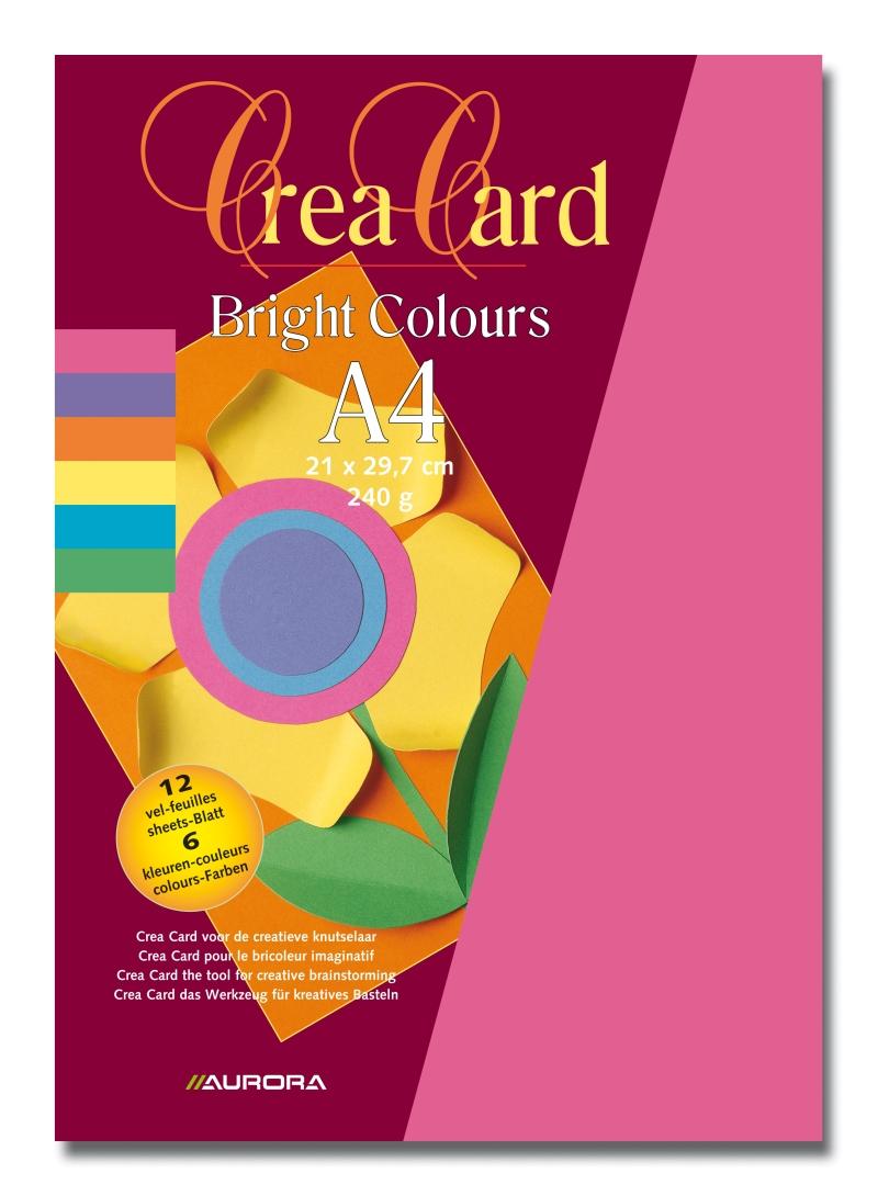 Carton Color A4  240g/mp - 12coli/set  Aurora Raphael - 6 Culori Intense