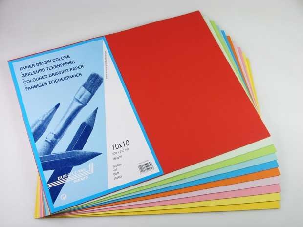 Carton Color A4+  160g/mp - 100 Coli/top  Aurora Raphael - 10 Culori Intense