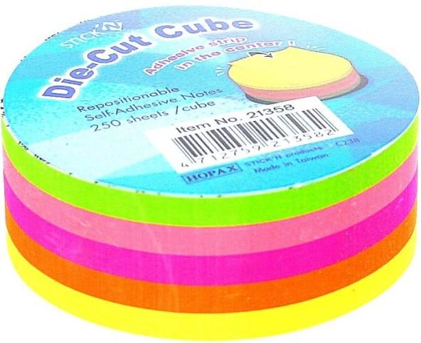 Notes Autoadeziv Die-cut - Cerc  67 X 67 Mm  5 X 50 File/set  Stickn - 5 Culori Fluorescente