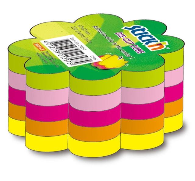 Notes Autoadeziv Die-cut - Floare  67 X 67 Mm  5 X 50 File/set  Stickn - 5 Culori Fluorescente