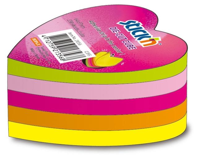 Notes Autoadeziv Die-cut - Inima  64 X 67 Mm  5 X 50 File/set  Stickn - 5 Culori Fluorescente