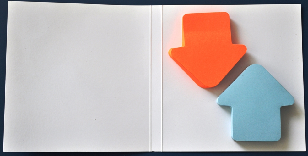 Notes Autoadeziv ( 2 Set X 100 File ) Forma Sageata Bleu-orange 70 X 70 Mm Pe Suport Carton