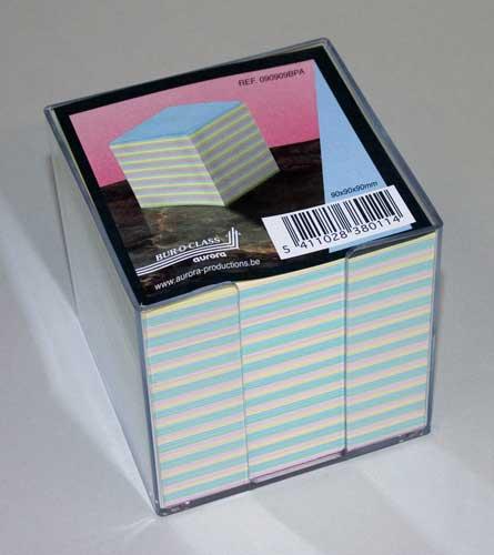 Cub Hartie Color 9x9x9cm  Cu Suport Plastic  Aurora