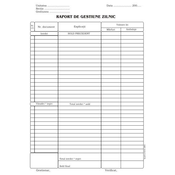 Raport Gestiune Zilnic  Format A4 100 Coli/carnet