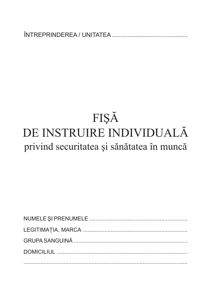 Fisa Instruire Individuala Pentru Securitatea Si Sanatatea In Munca  A5