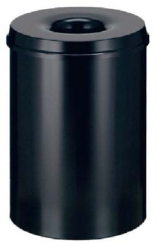 Cos Metalic Cu Capac Antifoc  Pentru Hartii  50 Litri  Vepa Bins - Rosu/negru