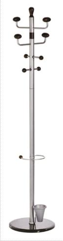Cuier Metalic Argintiu Cu Accesorii Negre  180/38cm  Alco