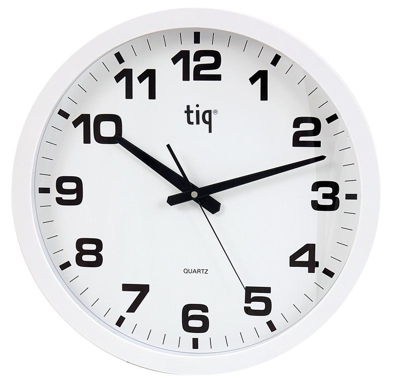 Ceas Rotund De Perete  D-400mm  Cifre Arabe  Tiq - Rama Plastic Alba - Dial Alb