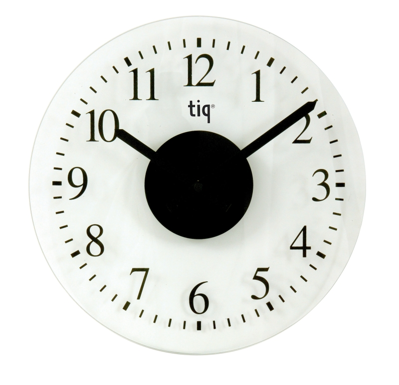 Ceas Rotund De Perete  D-330mm  Cifre Arabe  Tiq - Sticla Transparent Mata