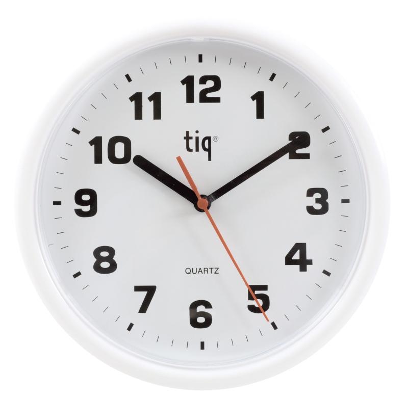 Ceas Rotund De Perete  D-245mm  Cifre Arabe  Tiq - Rama Plastic Alba - Dial Alb