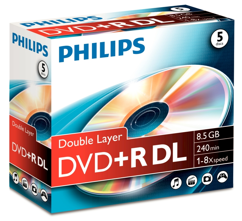Dvd+r 8.5gb Double Layer 8x  Jewelcase  Philips
