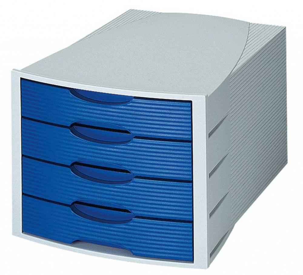 Suport Plastic Cu 4 Sertare Pentru Documente  Han Monitor - Gri Deschis/albastru