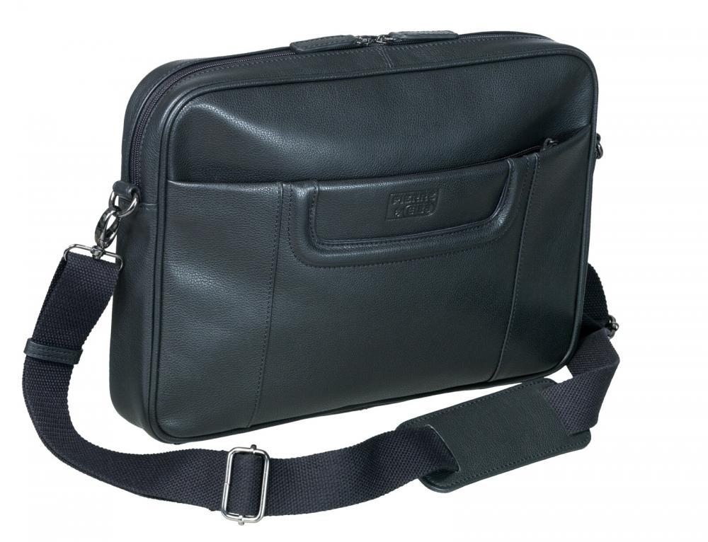 Geanta Pierre Mini Line  Slim  Din Piele Neagra  Pentru Laptop  26 X 36 X 5 5cm