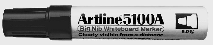 Marker Pentru Tabla De Scris Artline 5100a  Corp Metalic  Varf Rotund 5.0mm - Negru