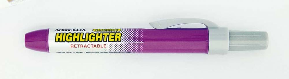 Textmarker Artline Clix  Mecanism Retractabil  Varf Tesit 4.0mm - Violet Fluorescent