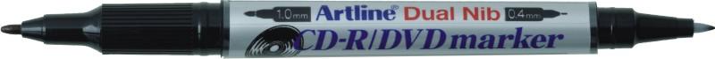 Cd/dvd-marker Artline 841t  Corp Plastic  2 Capete  Varfuri Rotunde 0.4mm/1.0mm - Negru
