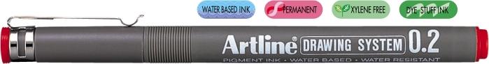 Marker Pentru Desen Tehnic Artline  Varf Fetru 0.2mm - Rosu